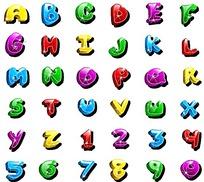 彩色卡通立体英文字母和数字矢量素材ai
