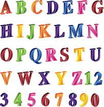 彩色立体英文字母和数字矢量素材ai