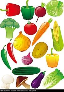 卡通蔬菜插画矢量素材