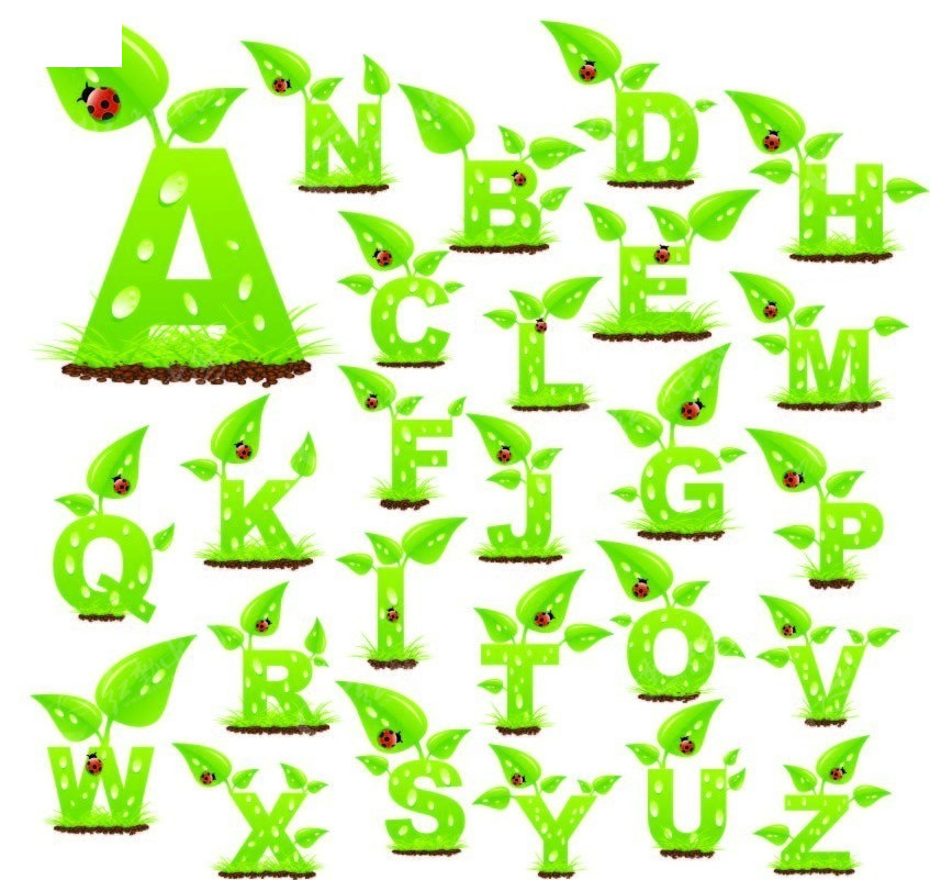 绿色嫩芽水珠26个字母字体设计ai免费下载_英文字体图片