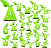 绿色嫩芽水珠26个字母字体设计