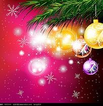 圣诞节彩球背景矢量素材