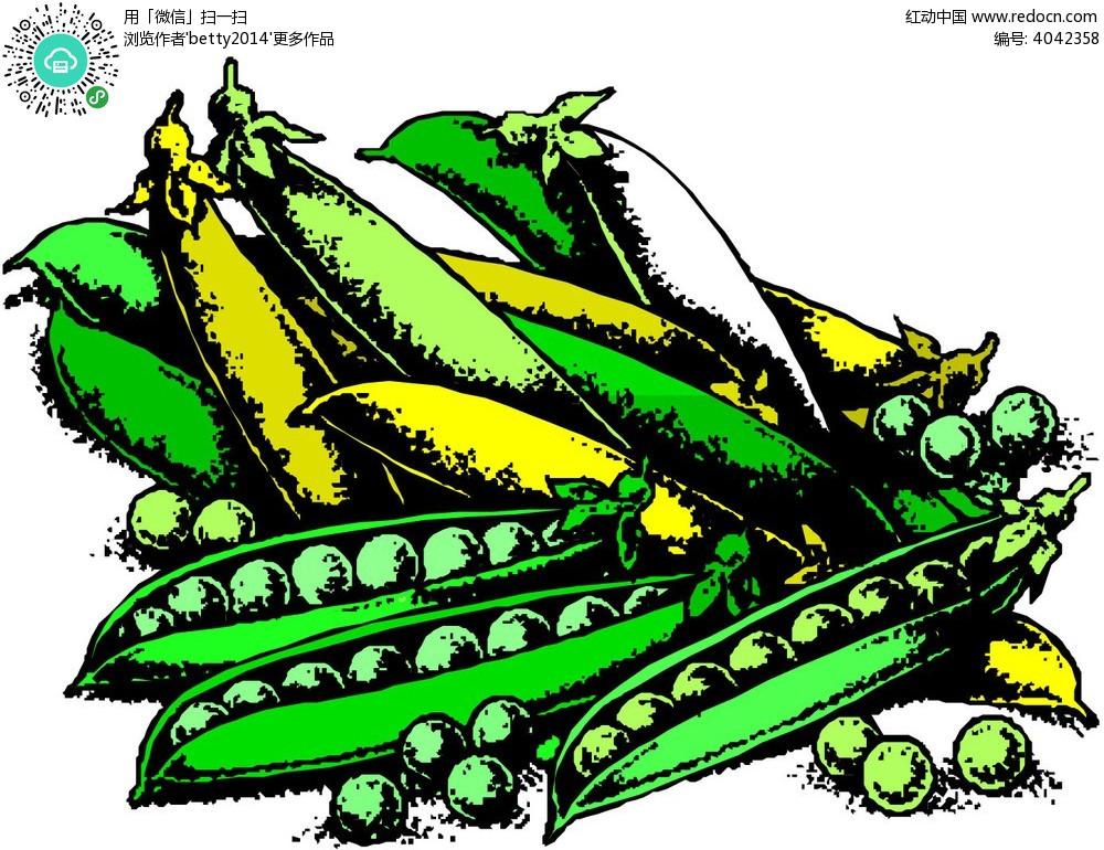 手绘一堆豌豆荚