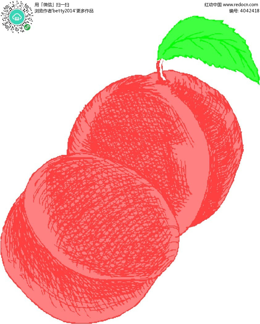 桃子手绘图形矢量