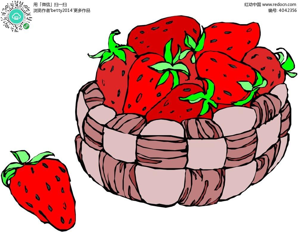 一篮满满的草莓手绘插画eps免费下载