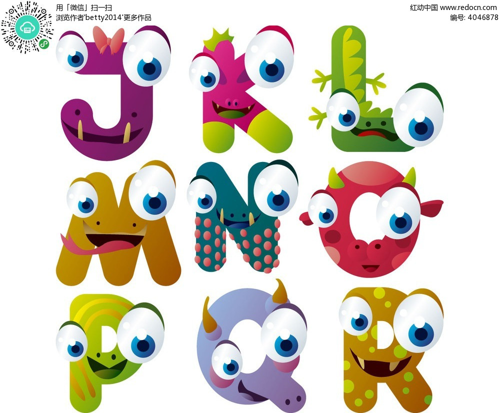 j至r九个彩色动物表情卡通字母素材eps图片