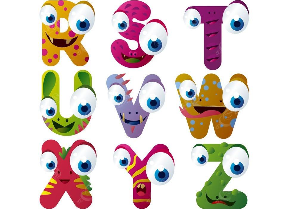 r至z九个彩色动物表情卡通字母素材eps图片