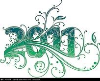 绿色渐变2011植物花纹数字素材eps