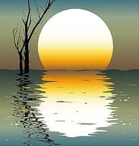 落日倒影水中矢量素材