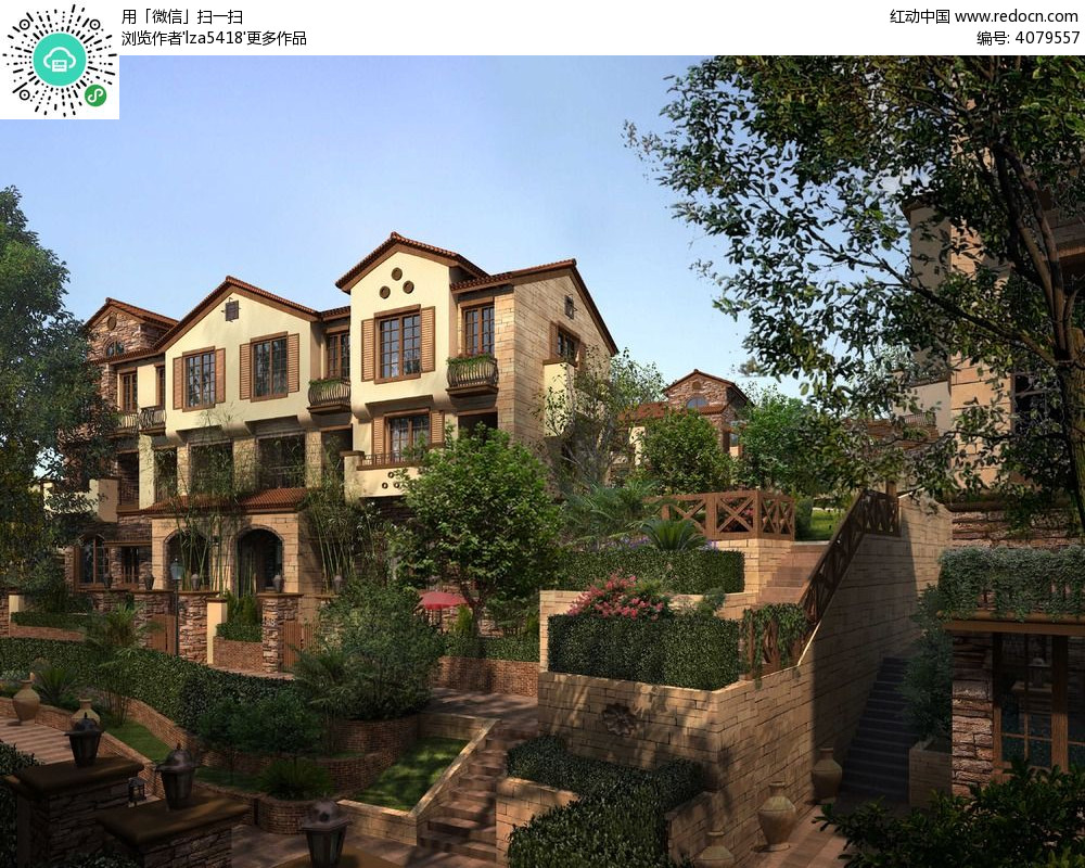 欧式高档小区小洋楼建筑设计效果图psd高清图片