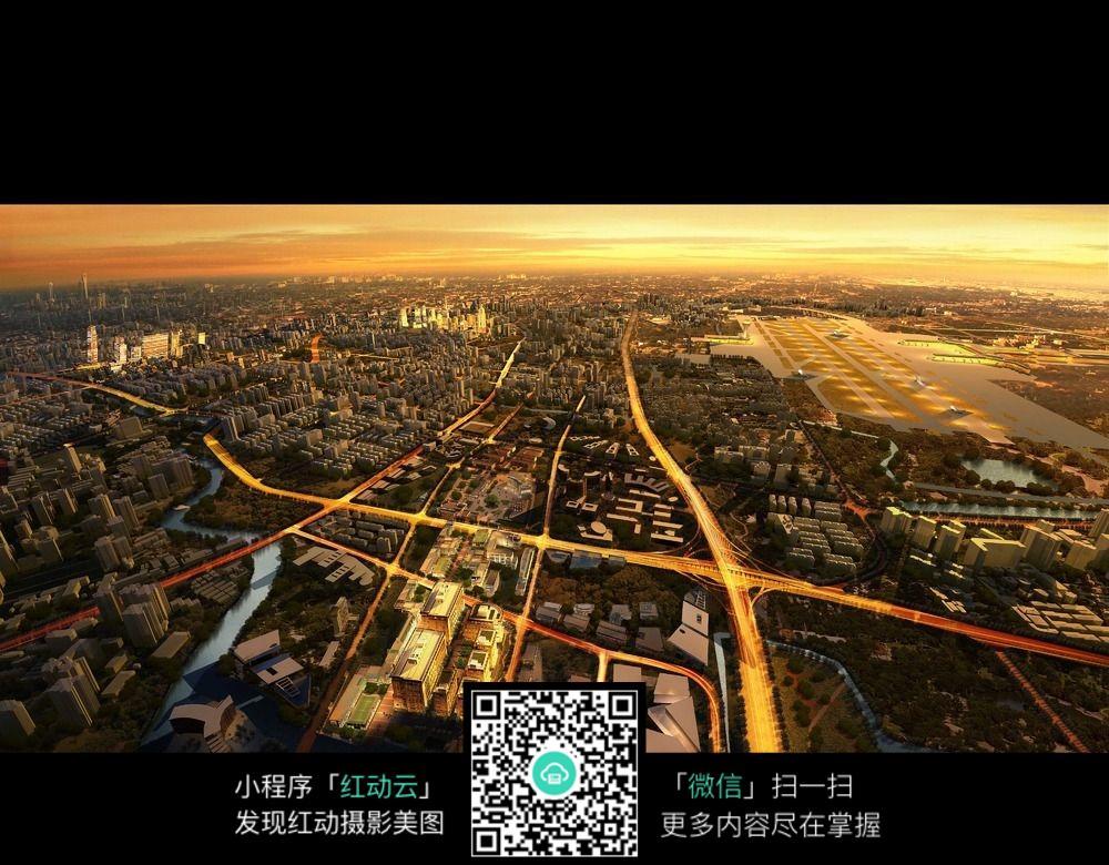现代城市规划鸟瞰效果图
