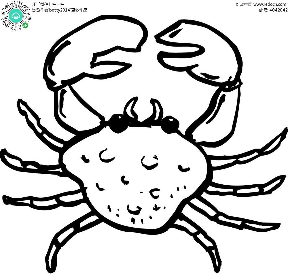 卡通线条手绘螃蟹矢量素材eps免费下载_蔬菜水果图片
