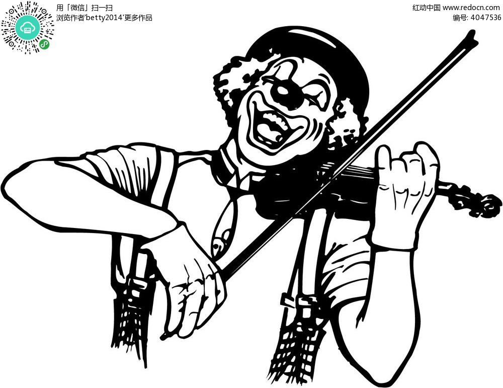 拉小提琴的小丑图片
