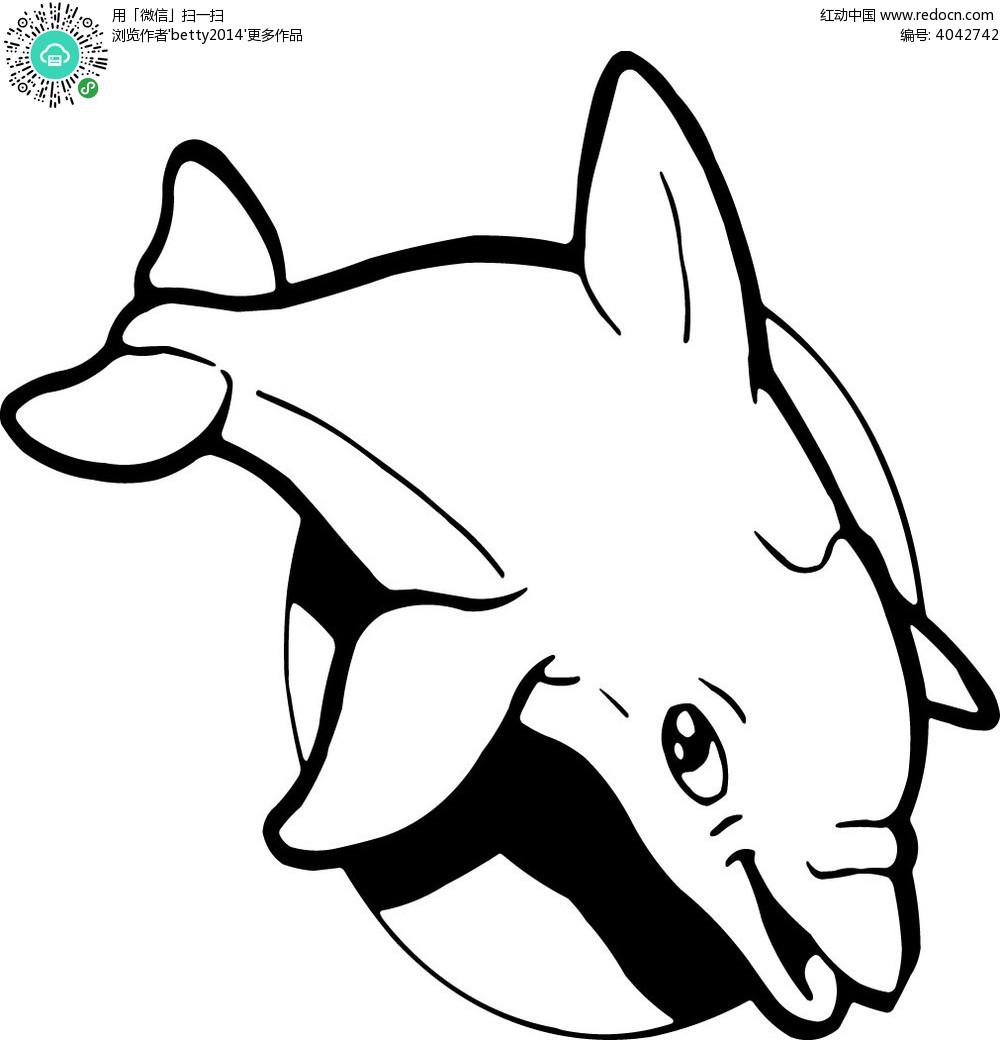 手绘海豚线条
