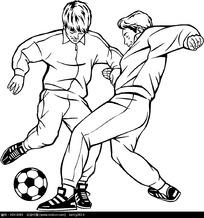 2个踢足球的运动员速写图