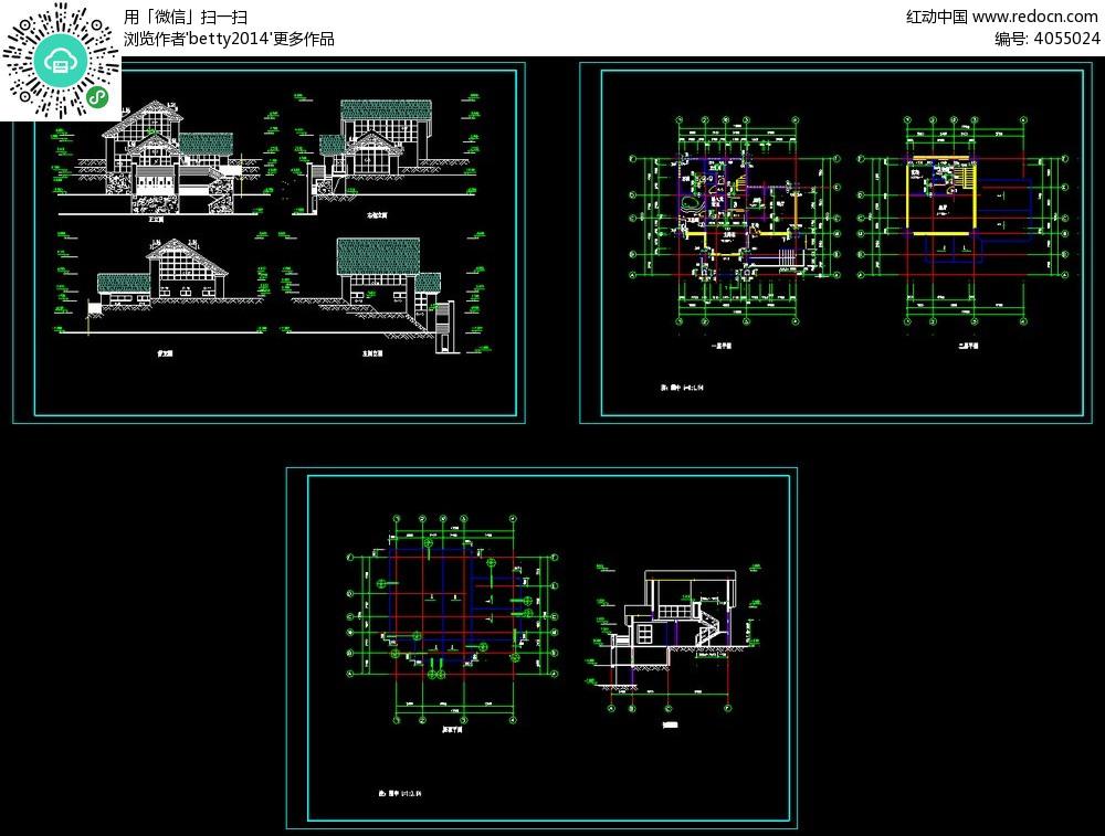 图库建筑设计别墅_CAD庭院别墅水景图纸台设计图图片