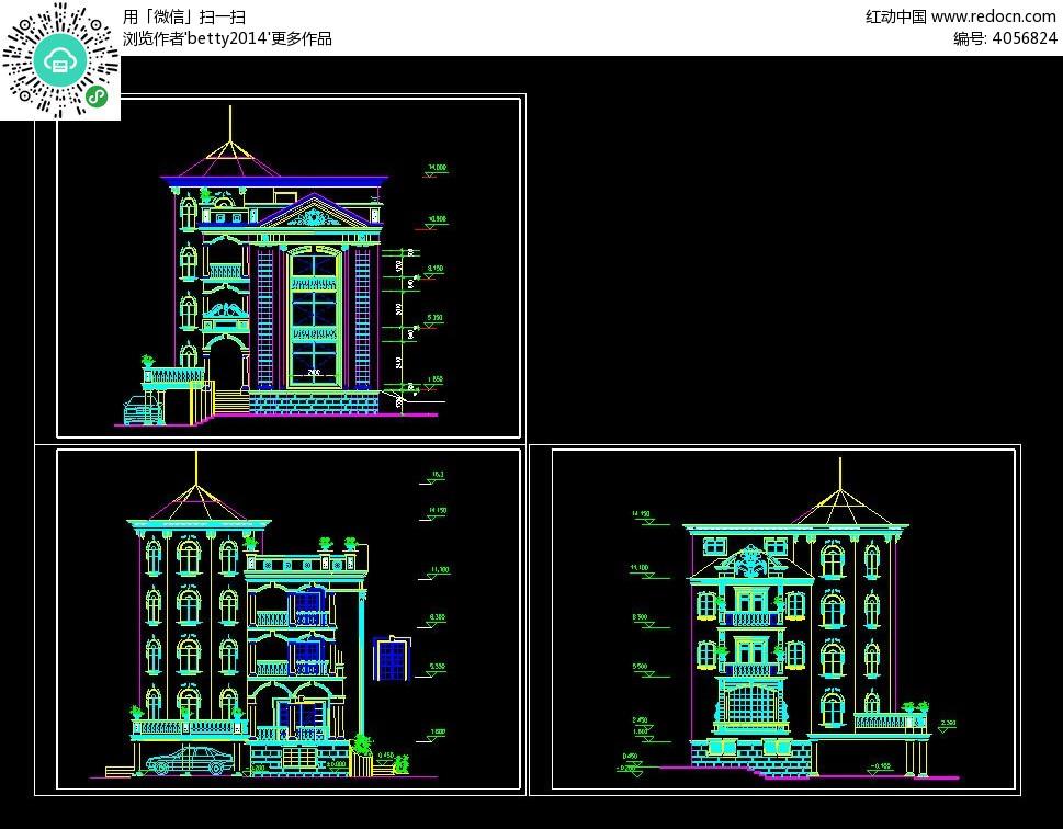 经典别墅建筑cad图纸