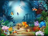 精美海底世界矢量背景图