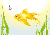 金鱼上钩矢量图