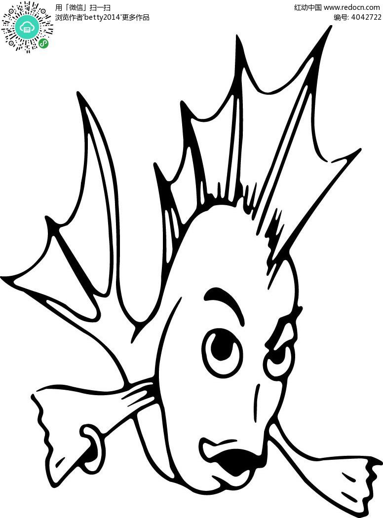renyushouluanluen_卡通拟人鱼手绘矢量线描图