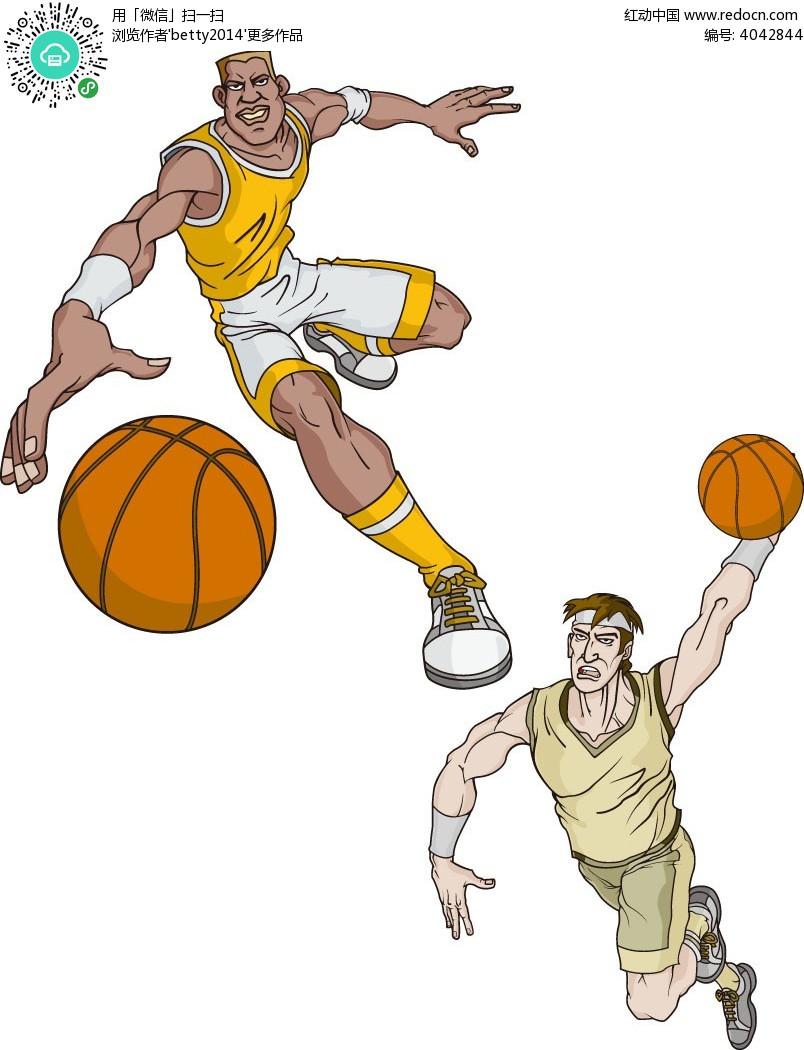 篮球运动员手绘插画