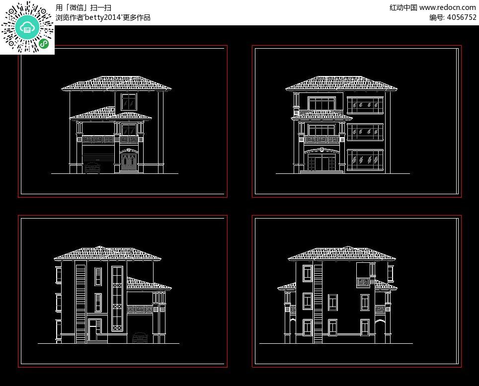某三层别墅立面设计