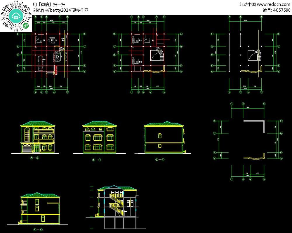 欧式别墅建筑cad图纸