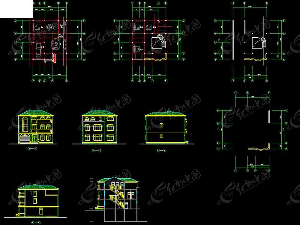 欧式别墅建筑图纸CAD素材免费下载 编号4056710 红动网图片