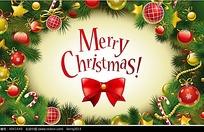 圣诞节绿色松枝边框背景