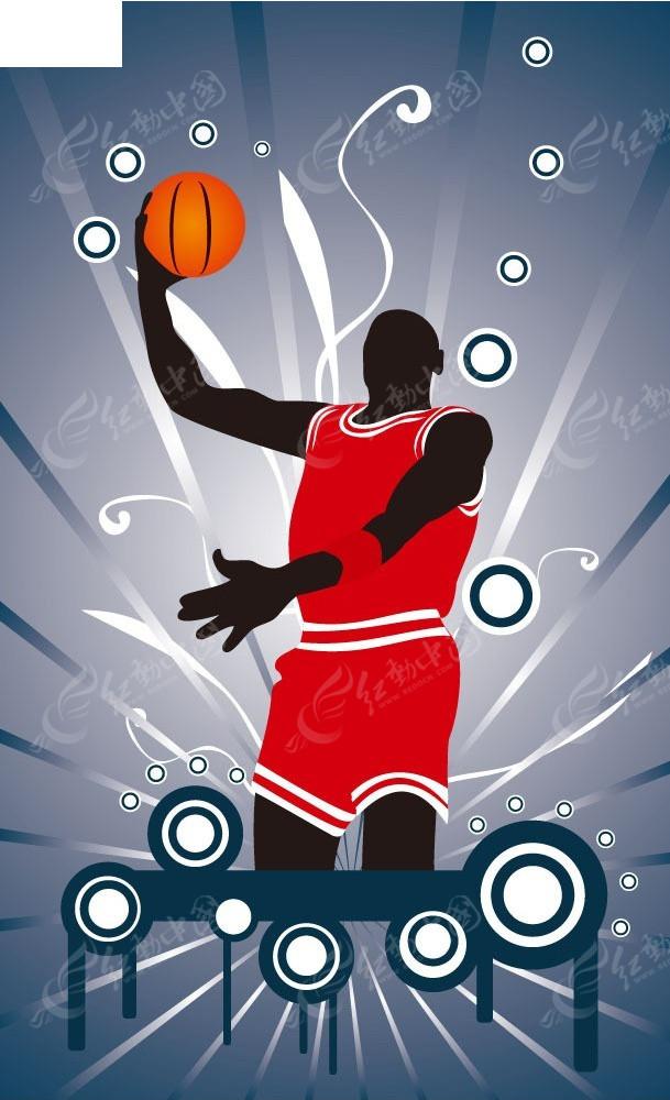 手绘篮球运动员背景图形
