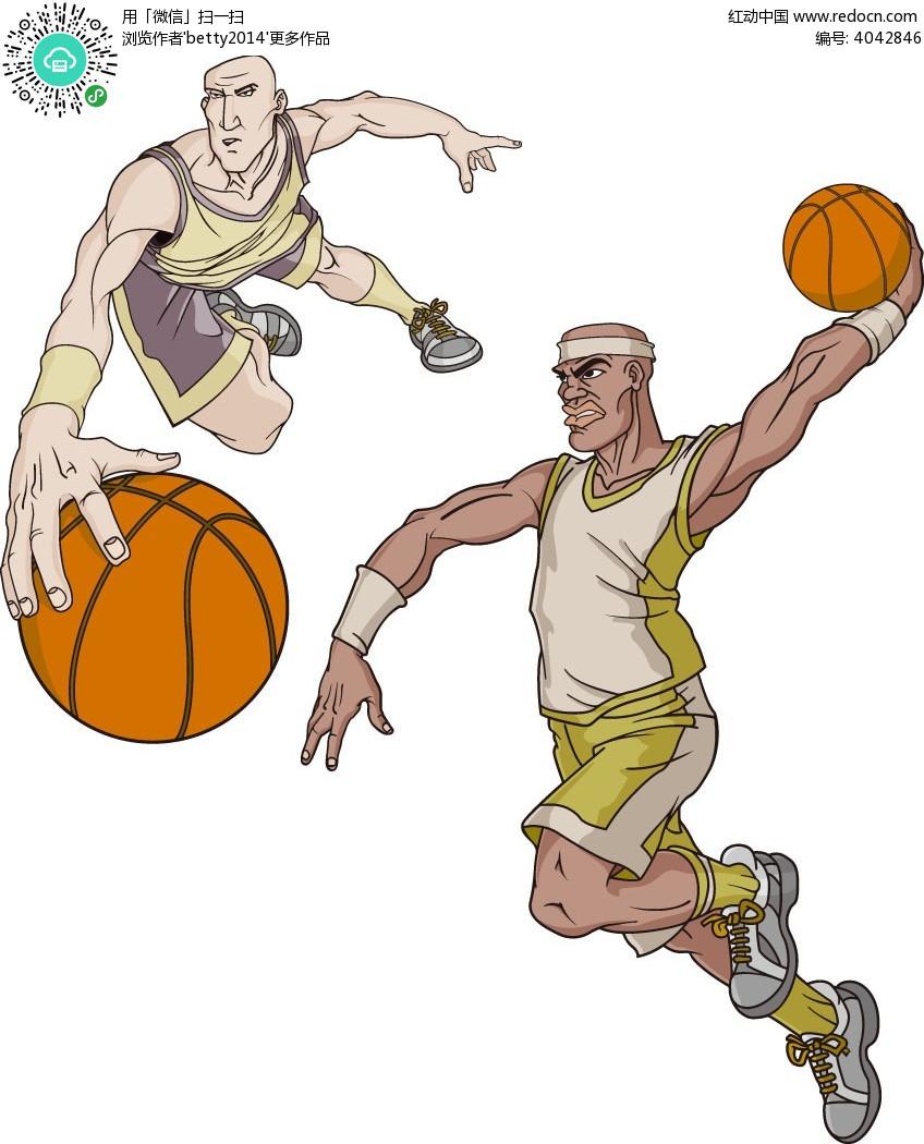 手绘篮球运动员插画