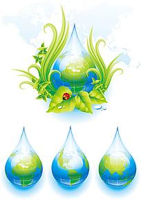 手绘青绿草叶水滴地球