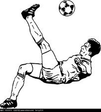 踢足球的运动员手绘线描图