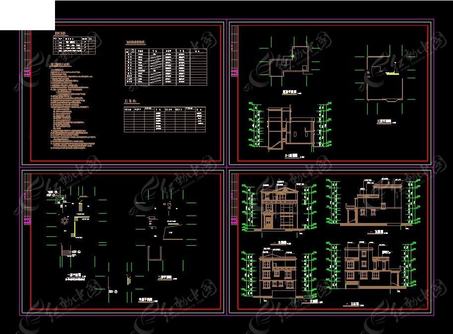 小别墅设计方案cad图纸免费下载