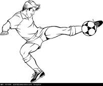 足球运动员速写黑白稿