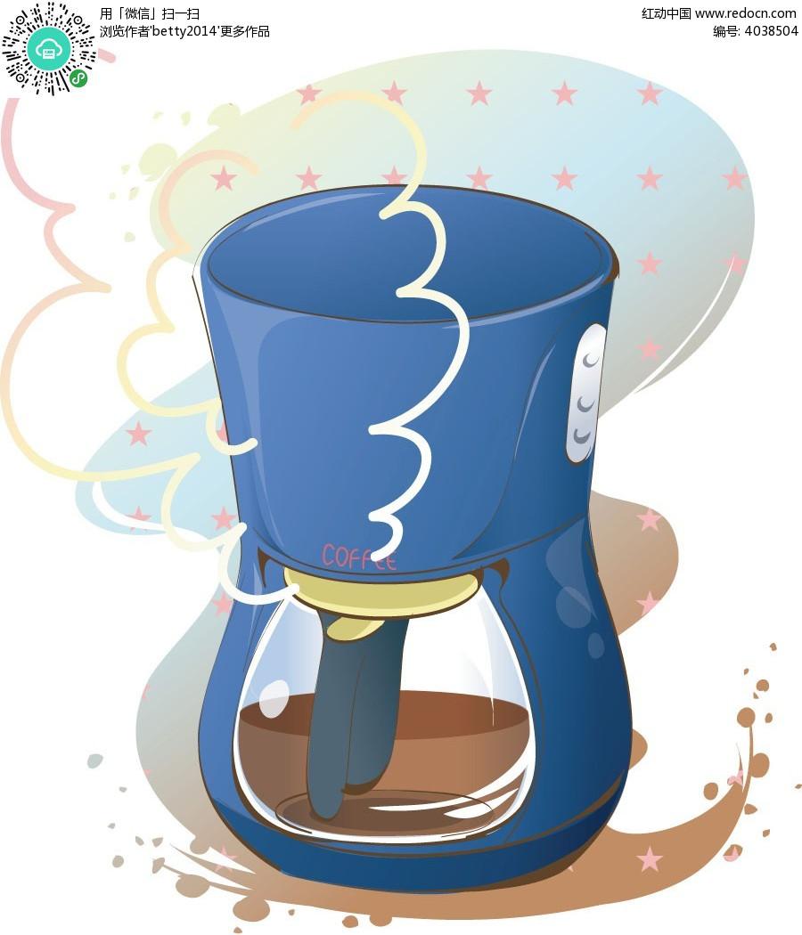 豆浆机手绘插画图形