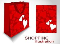 红色心形购物袋设计