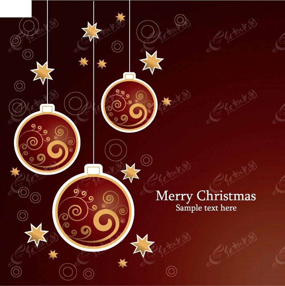 几何花纹圣诞球星星背景圣诞贺卡