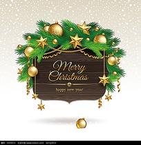 金色五角星松枝边框圣诞卡片