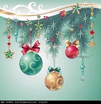 清新圣诞彩球松枝背景画