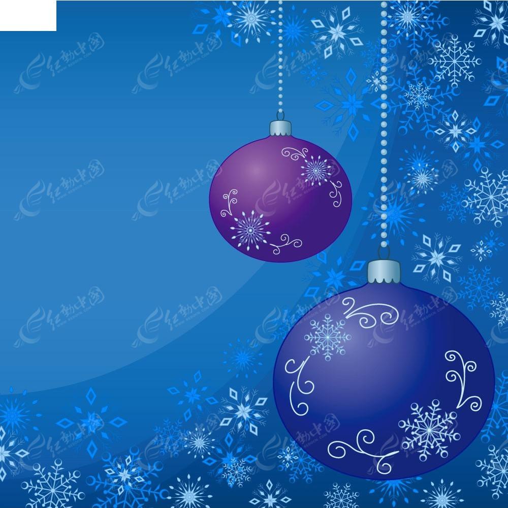 圣誕雪花圣誕球背景畫