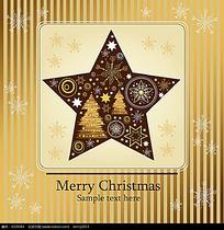 五角星方形边框圣诞卡片