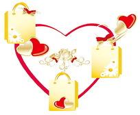 心形心形购物袋图形设计设计