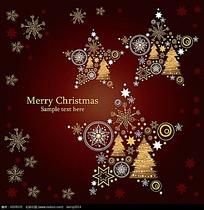 雪花五角星边框圣诞卡片素材
