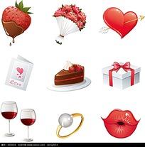 草莓和玫瑰等精美情人节矢量素材