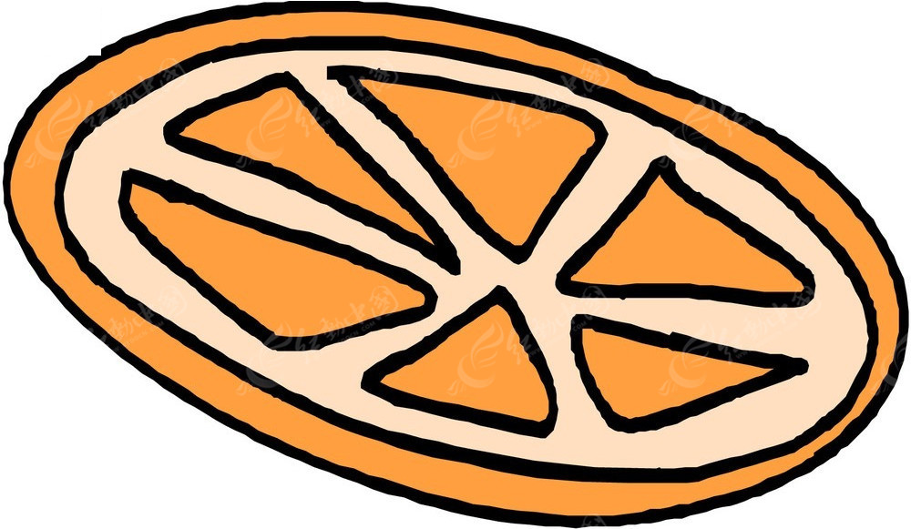 橙子片手绘素材