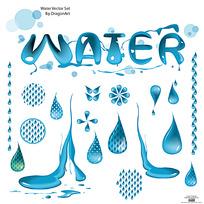 蓝色水滴手绘画