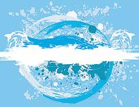 蓝色水浪背景画