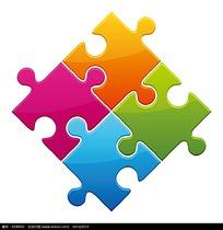 拼图块构成的矢量素材图片