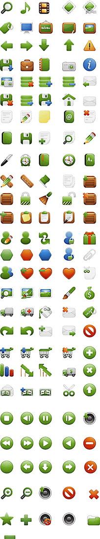 全套绿色质感网页图标